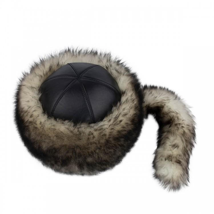 Tarkan Kurt Tüyü Desenli Deri Şapka - Ş066