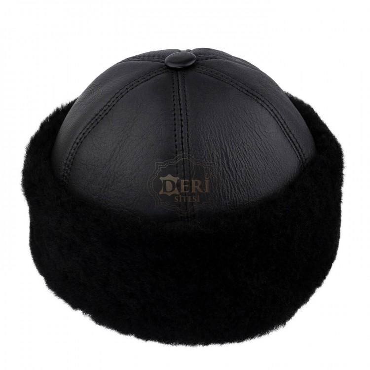Siyah Renk İçi Kürklü Outdoor Deri Şapka - Serdar Kılıç Modeli - Ş073