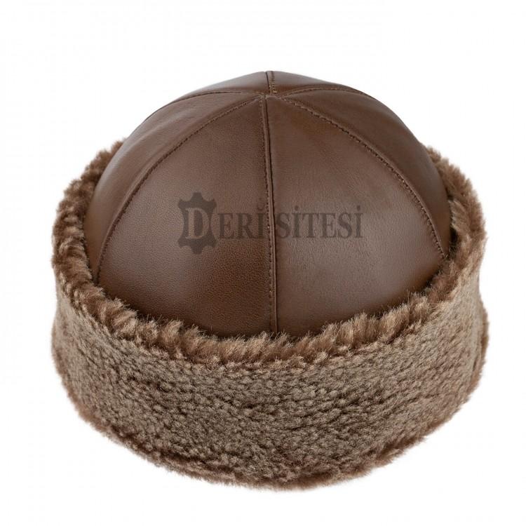 Kahverengi İçi Kürklü Hakiki Kuzu Derisi Börk, Şapka Modelimiz - Ş113