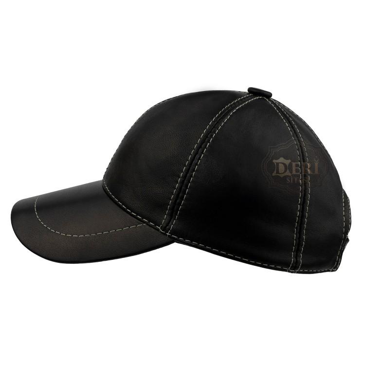 Unisex Beyzbol Deri Şapka - Hakiki Kuzu Derisi Kep
