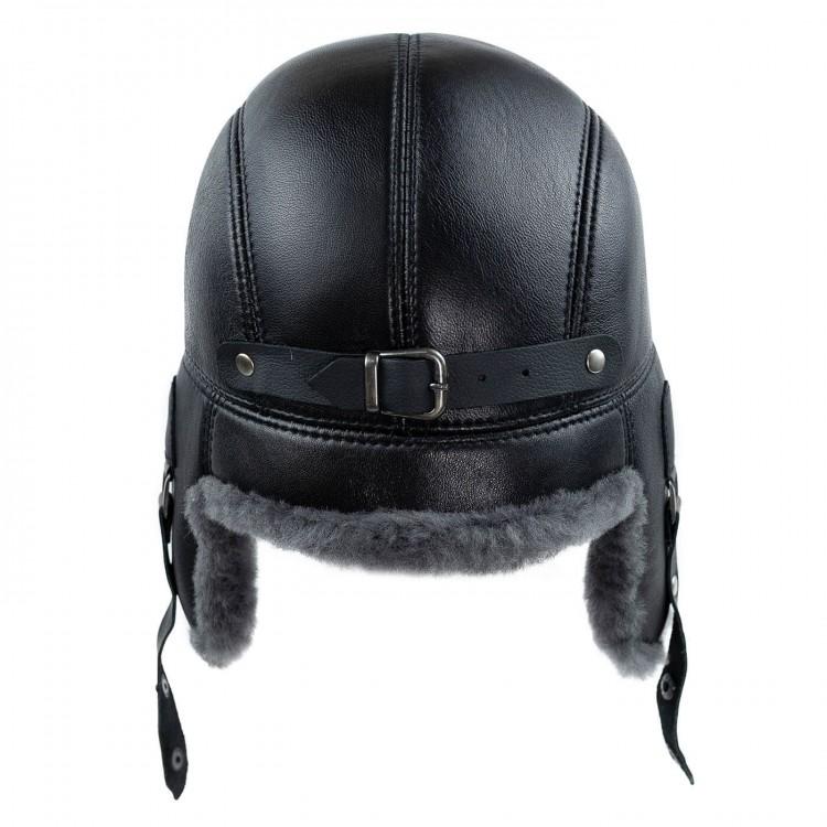 Snotop Tüylü Tokalı Pilot Deri Şapka - Ushanka Deri Şapka - Ş054