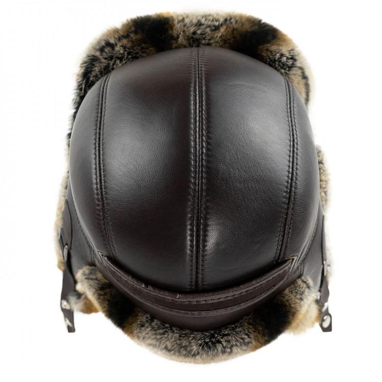 Tabışgan Kahve Tavşan Kürklü Erkek Deri Börk, Şapka Modelimiz - Ş057