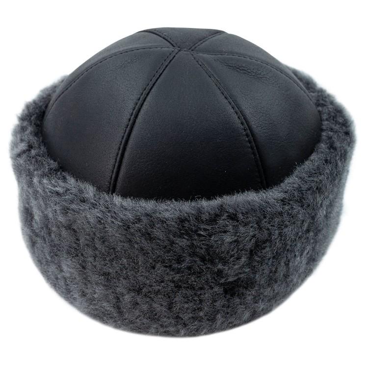 Deri Şapka Gri Renk İçi Kürklü Deri Şapka - Kürşad Deri Börk - Ş075