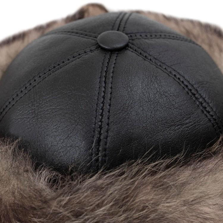 Deri Şapka - Kahve Kurt Tüyü Desenli - Koyun Derisi Börk
