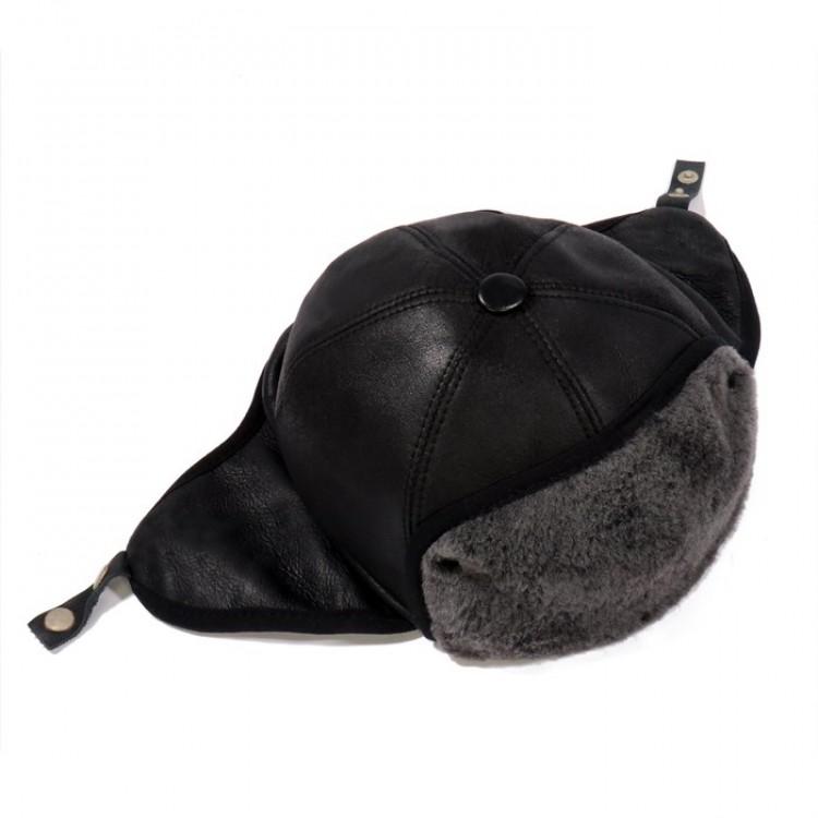 Pilot Deri Şapka , Kışlık İçi Kürklü Hakiki Deri Pilot Şapka - Ş062