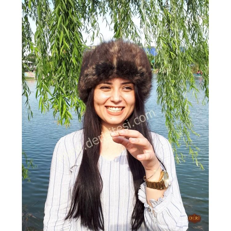 Asena Kurt Tüyü Desenli Kadın Deri Börk, Şapka Modelimiz - BŞ153