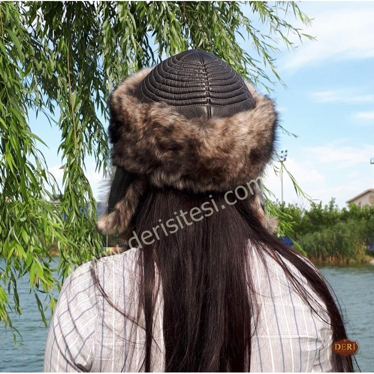 Tomris Katun Kürklü Kadın Deri Börk, Şapka Modelimiz - BŞ151