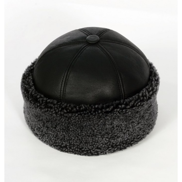 Gri Renk Kıvırcık Tüylü İçi Kürklü Outdoor Deri Şapka - Serdar Kılıç Modeli - Ş074