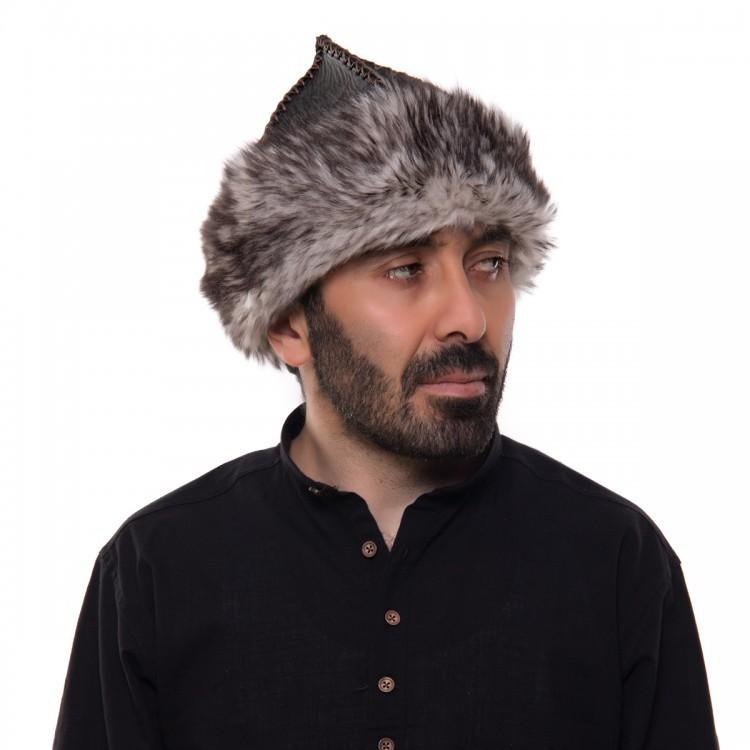 Tegin Boz Börk - Bozkurt Tüyü Desenli Hakiki Deri Şapka - Ş078