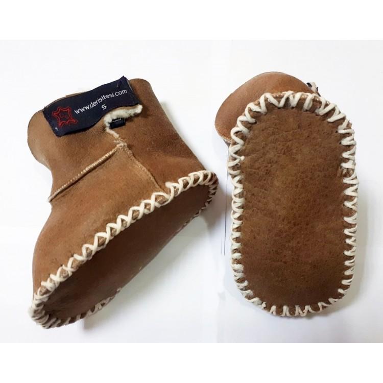 Camel Renk Deri Bebek Patiği - Çocuk Ev Ayakkabısı - Hakiki Kuzu Kürklü