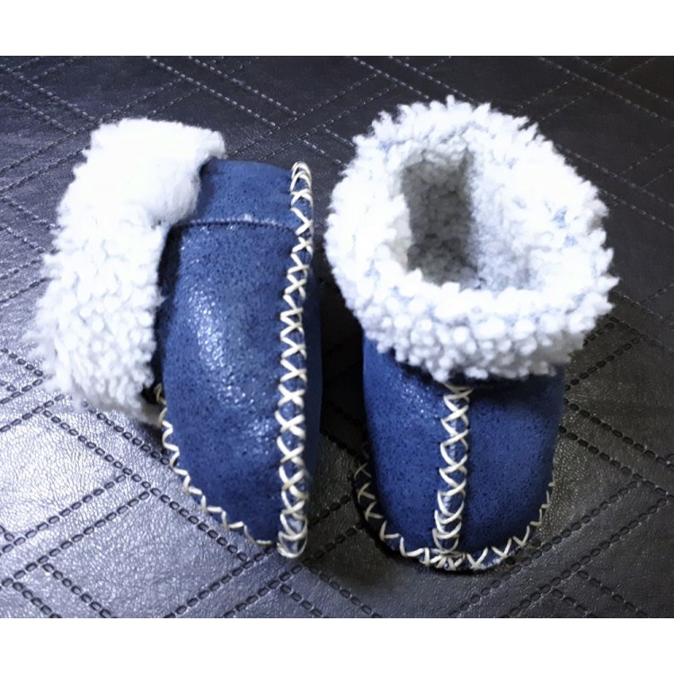 Mavi Renk Deri Bebek Patiği - Çocuk Ev Ayakkabısı - Hakiki Kuzu Kürklü