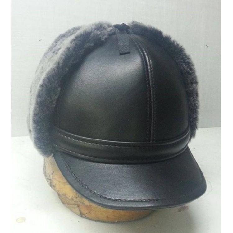 Kulaklıklı Deri Şapka Modeli - Ş060