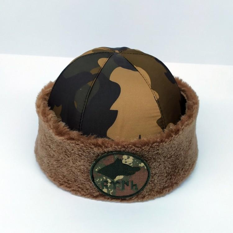 Su Geçirmez Kamuflajlı Göktürk Tamgalı İçi Koyun Kürklü Börk, Şapka Modelimiz - Tüyü Kahve Rengi - Ş118