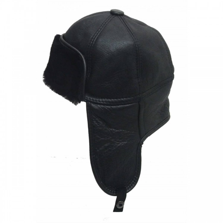Hakiki Kuzu Derisi İçi Kürklü Pilot Deri Şapka - Ş062